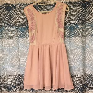 Pins and Needles Pink and Nude Embroidery Dress